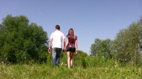walking couple on grass Stock Video Footage