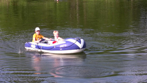 children in boat Footage