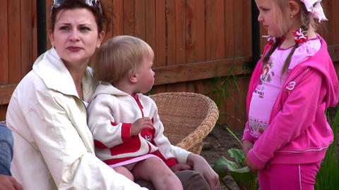 mother with children outdoor Stock Video Footage