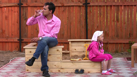 father with little girl outdoor Stock Video Footage