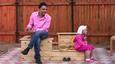 father with little girl outdoor Footage
