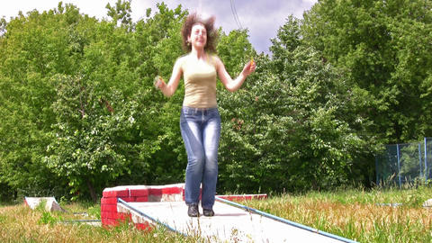 woman with jump rope Stock Video Footage