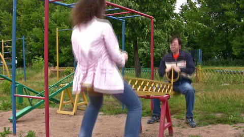 couple on seesaw Footage