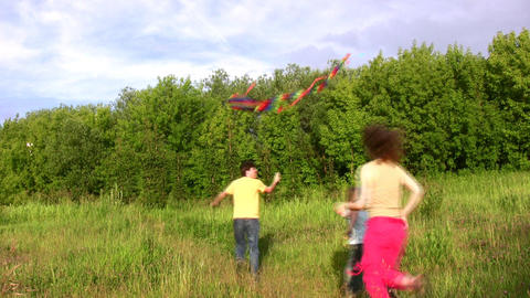 family of four with kite Stock Video Footage