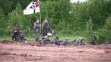 Old War Reconstruction stock footage