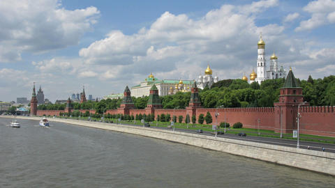 Moscow Kremlin river tima lapse Footage