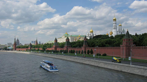 Moscow Kremlin river tima lapse Stock Video Footage