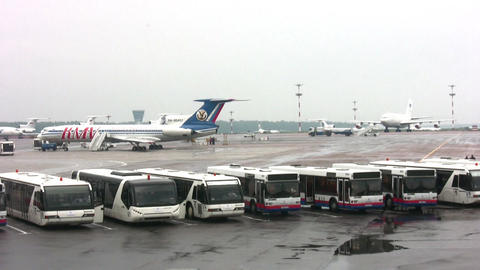 buses in airport Stock Video Footage
