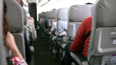 passengers in shaking plane Stock Video Footage