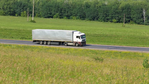 truck driving on a road Stock Video Footage