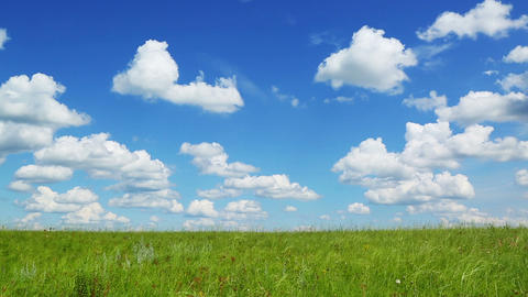 background with green meadow under blue sky with c Footage