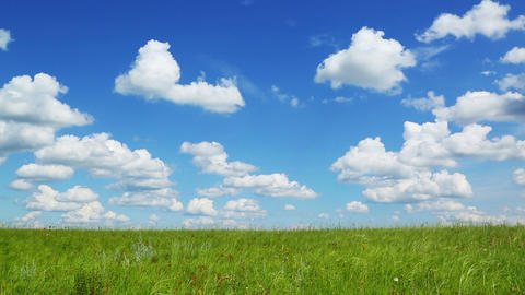 background with green meadow under blue sky with c Stock Video Footage