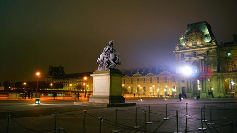 4k ,Time lapse from the Louvre at night with statu Stock Video Footage