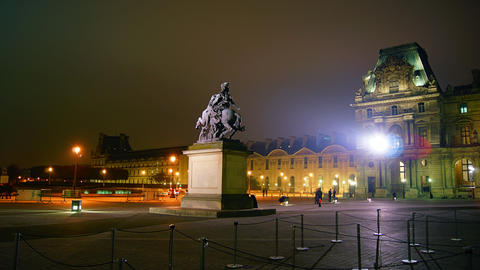 4k ,Time Lapse From The Louvre At Night With Statu stock footage