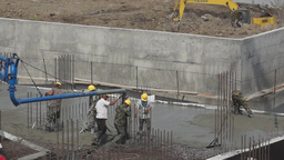 Workers Build A New House Of Concrete stock footage