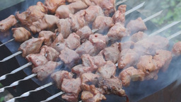 Cooking Of A Shish Kebab On The Brazier stock footage