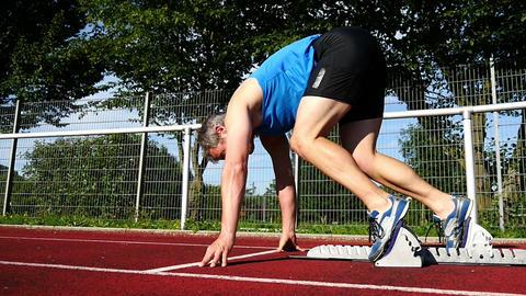 Sprintstart in der Leichtathletik Footage