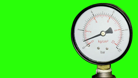 Water pressure meter installed with green screen,  Footage