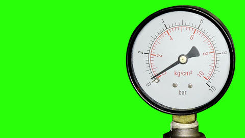Water pressure meter installed with green screen, Stock Video Footage