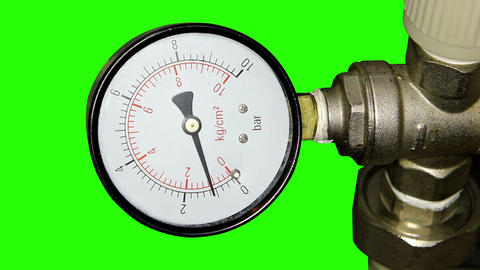 Water pressure meter installed with green screen Stock Video Footage