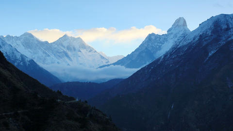 Timelapse sunrise in the mountains Everest (8848м Stock Video Footage