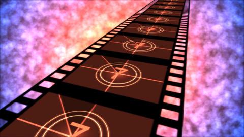 Movie Countdown Animation - Loop Red Purple Stock Video Footage