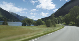 4K Scenic Drive, Norway, Sognefjord Stock Video Footage