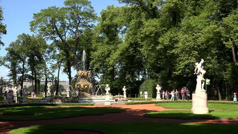 Summer garden. Saint-Petersburg. 4K Stock Video Footage