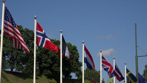 Flags Of The European Countries And The USA. 4K stock footage