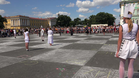 Live chess. The Palace square. Saint-Petersburg. 4 Stock Video Footage