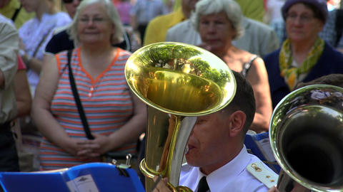 The trumpet in a brass band. 4K Footage