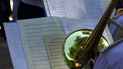 Brass band. The pipe. Notes. 4K Stock Video Footage