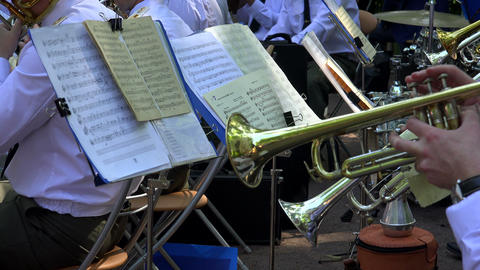 Brass band. The pipe. Notes. 4K Footage