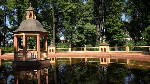 Summer garden. Saint-Petersburg. 4K Footage