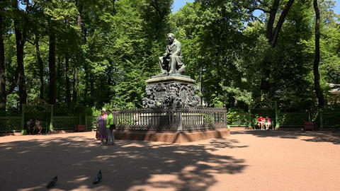 The monument to Krylov in the Summer garden. Saint Footage