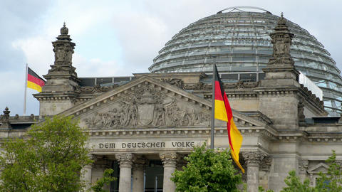 waving german flags in front of the bundestag 1141 Stock Video Footage