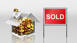 investment saving at house sale sold sign HD Animation