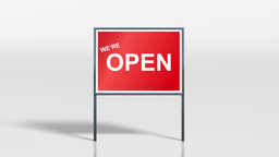 shop signage stand open and mega sale HD Stock Video Footage