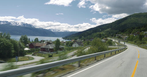 4K Scenic Drive, Norway, Sognefjord Footage