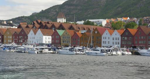 4K, Brueggen, Norway, Row Of Houses, Long Pan Footage