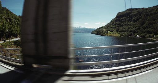 4K Scenic Drive, Norway, Hardanger Fjord Stock Video Footage