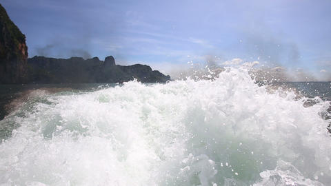 spray and bubbling water from a large boat propell Footage