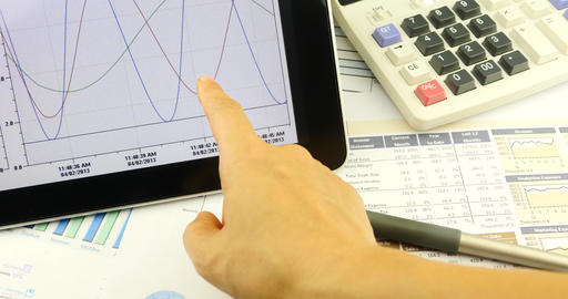 4k Businessman work on tablet with diagrams,finger... Stock Video Footage