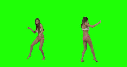 Bikini Dance on Green Screen 影片素材