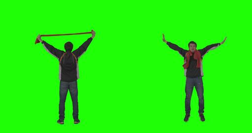 Sports Fan Cheering On Green Screen stock footage