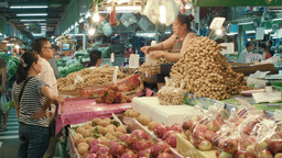 Buying Fruit at a Fresh Food Market in Bangkok, Th Footage