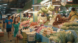 People at a Fresh Fruit Market in Bangkok, Thailan Footage