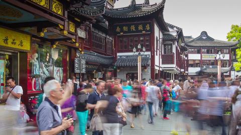 Entrance to Yuyuan Garden turn timelapse Footage