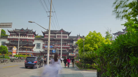 Way to Yuyuan Garden hyperlapse Stock Video Footage