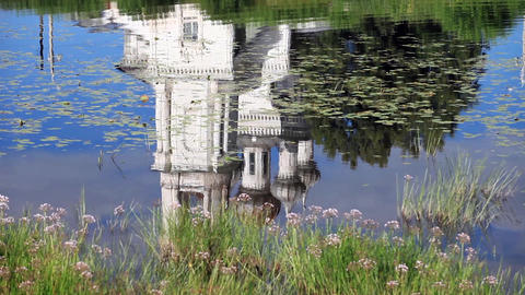 Church Reflection in water Stock Video Footage
